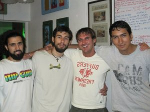 Me and the hostel Lao crew. (German, Fran,Me,Maurizio